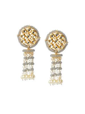 Fida Ethnic Indian Traditional Classic Kundan Stone Embellished Drop Earrings For Women.