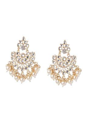 Fida Ethnic Indian Traditional Kundan Stone & Pearl Embellished Drop Earrings For Women.