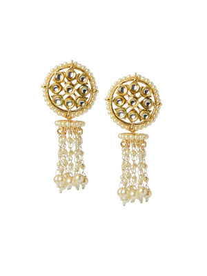 Fida Ethnic Indian Traditional Classic Pearl & Kundan Embellished Drop Earrings For Women