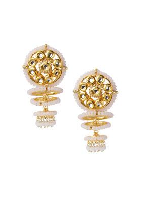 Fida Ethnic Indian Traditional Kundan & Pink Beads Embellished Drop Earrings For Women.