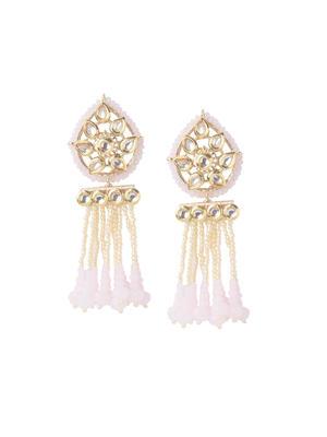 Fida Ethnic Indian Traditional Gold Kundan & Beads Embellished Drop Earrings For Women