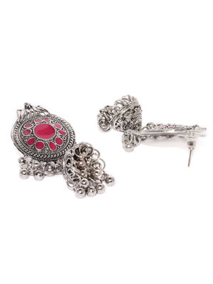 Silver and Pink Shield Jhumki Earring
