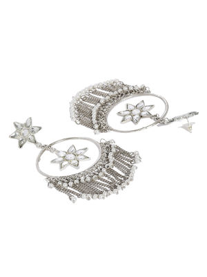 Silver and White Floral Drop Earring