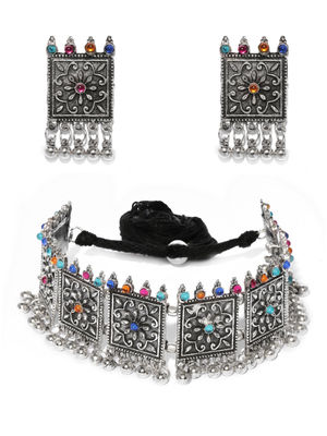 Silver and Multi Choker Necklace