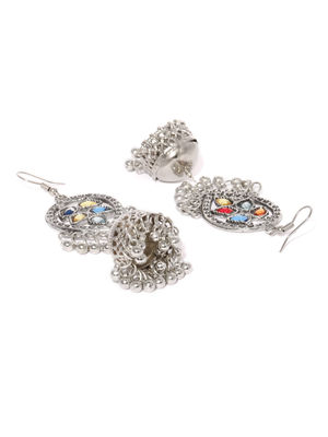 Silver and Oval Dome Jhumki Earring