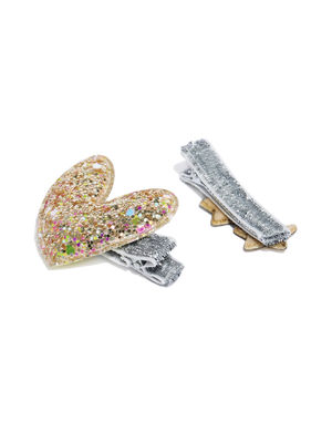 Girls Set of 2 Gold-Toned and Silver-Toned Embellished Alligator Hair Clips