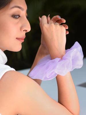 Toniq Pretty Purple Gaint organza Cloud Hair Scrunchie For Women