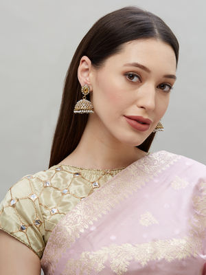 Ethinic Indian Traditional Gold  Pearl and CZ Diamond Embellished Jhumka Earrings For Women