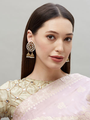 Ethinic Indian Traditional Gold and Pearl Embellished  Drop Stud Earrings For Women