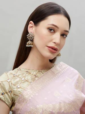 Ethnic Indian Traditional Gold Kundan Stone Embellished Jhumka Drop Earrings For Women