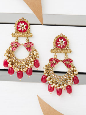 Ethnic Indian Traditional Gold Beautiful Embellished Drop Earrings