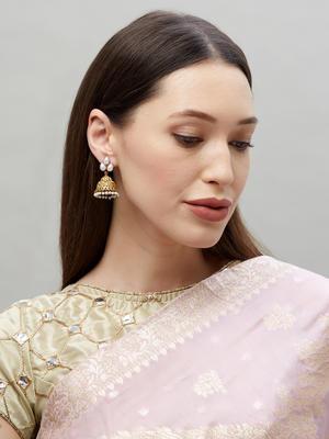 Ethnic Indian Traditional Pearl Embeliished Jhumka Earrings For Women