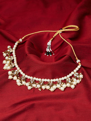 Beautiful Gold Kundan Stone,Pearl Embellished Necklace Set For Women-1 Necklace,1 Pair Earrings
