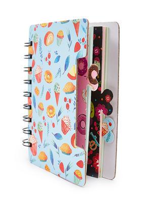 White Sweet Treat Dessert Pattern Spiral Notebook
