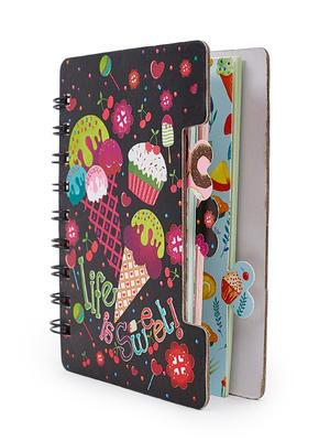 Black Sweet Treat Dessert Pattern Spiral Notebook