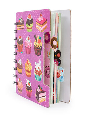 Pink Sweet Treat Cup Cake Pattern Spiral Notebook