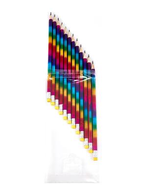 Set Of 12 Multicolor Rainbow Laser Pencil