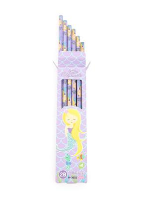Set Of 12 Purple Mermaid Print Pencil