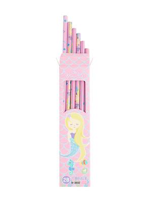 Set Of 12 Pink Mermaid Print Pencil