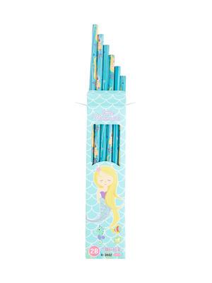 Set Of 12 Blue Mermaid Print Pencil