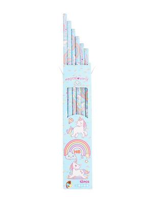 Set Of 12 Blue Uncorn Print Pencil