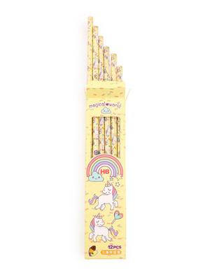 Set Of 12 Yellow Uncorn Print Pencil