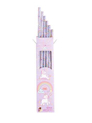 Set Of 12 Purple Uncorn Print Pencil