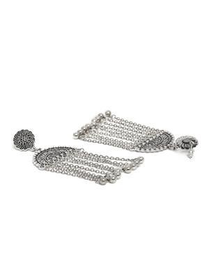 Silver-Toned Tribal Geometric Drop Earrings For Women