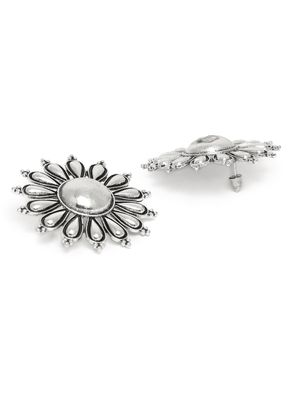 Silver-Toned Oxidised Floral Studs For Women