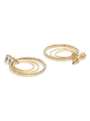 Gold-Toned Circular Drop Earrings For Women