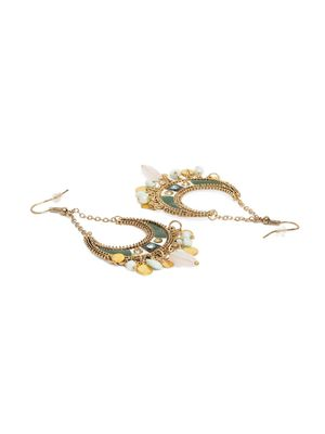 Gold-Toned & Green Crescent Shaped Chandbalis For Women