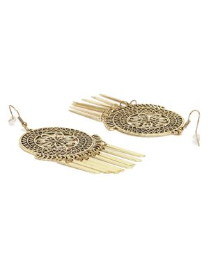 Gold-Toned Copper Gold Fusion Geometric Drop Earrings For Women