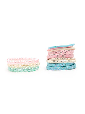 ToniQ Kids Set of 12 Pastel Color Rubber Band For Girls.