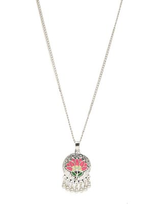 Silver-Toned & Pink Enamelled Lotus Pendant with Chain For Women