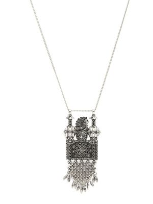 Silver-Toned Oxidised Tribal Pendant with Chain For Women