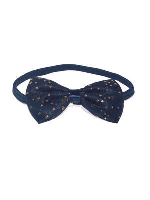 White & Navy Bow Clip Set