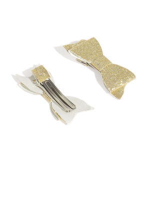 Gold Glittery Bow Clip Set