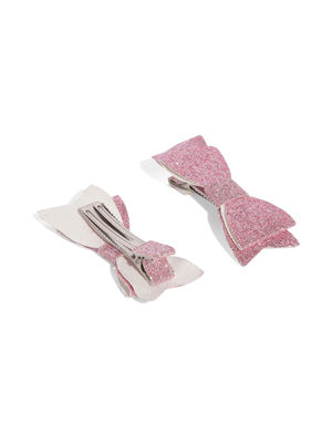 Pink Glittery Bow Clip Set