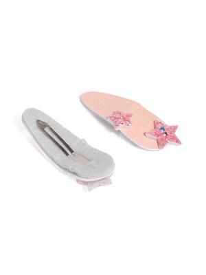 Pink Glittering Star Clip Set