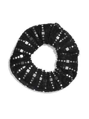Black Printed Scrunchies