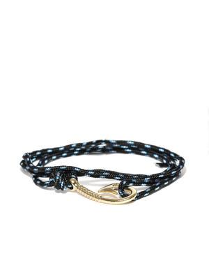 Men Black & Blue Patterned Wrap-Around Bracelet