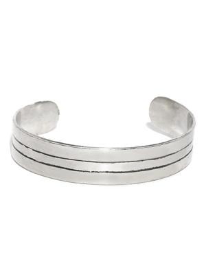 Men Silver-Toned & Black Striped Metal Cuff Bracelet