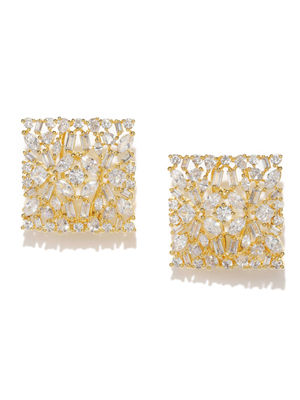 Gold-Toned & White Square Studs