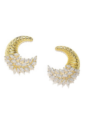 Gold-Plated White Crescent-Shaped Handcrafted Drop Earrings