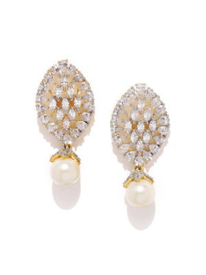 White Gold-Plated Embellished Drop Earrings