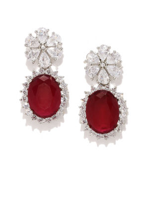White & Maroon Rhodium-Plated Handcrafted Drop Earrings
