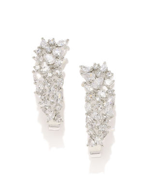 White Rhodium-Plated Handcrafted Drop Earrings