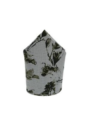 Men Grey & Green Floral Print Pocket Square