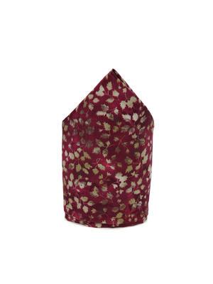 Men Marooon Floral Print Pocket Square