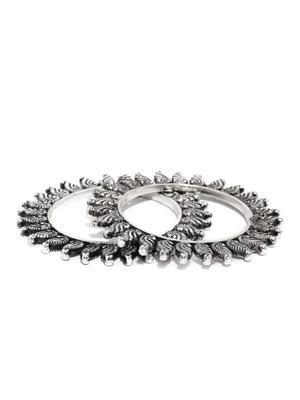 Women Set of 2 Silver-Toned Swirl Bangles